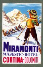 Collectible Hotel luggage label ITALY RARE Miramonti Dolomiti Ski  #332